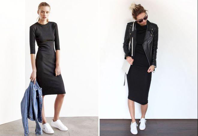 облегающее платье с кроссовками