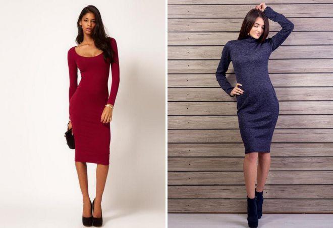 облегающие платья до колен