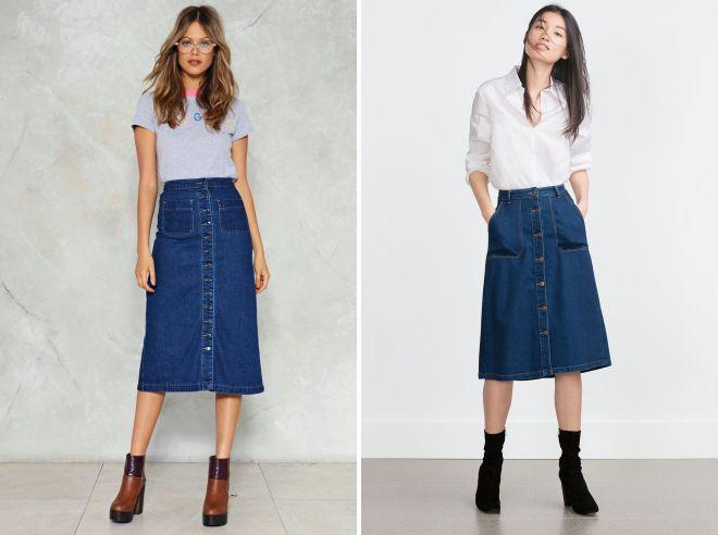 джинсовая офисная юбка