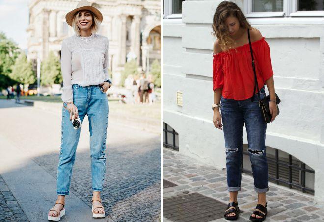 женские сандалии с джинсами