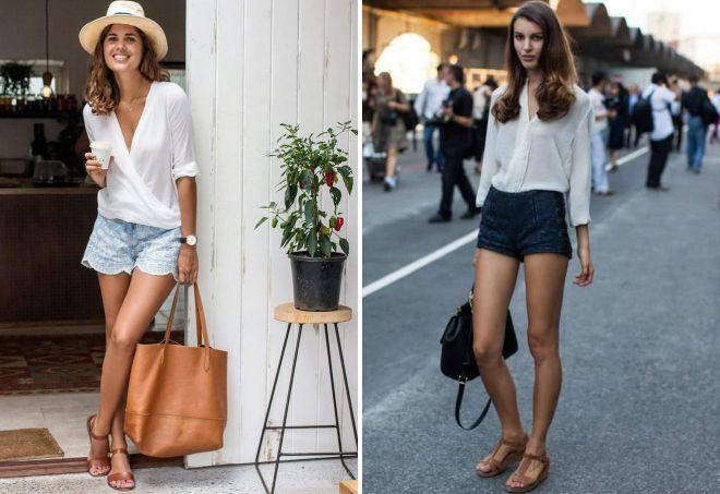 сандалии с короткими шортами