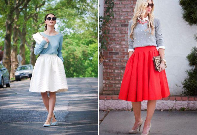 с чем носить широкую юбку миди