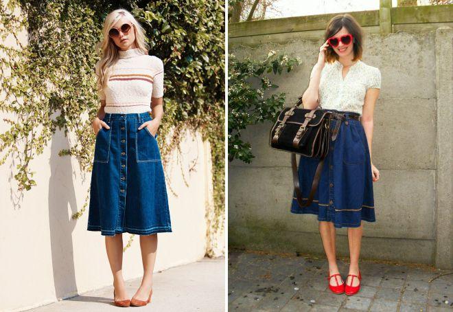 модная широкая джинсовая юбка