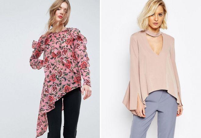 модные модели блузок с длинным рукавом