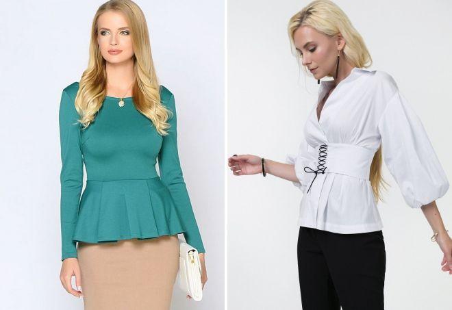 приталенные блузки с длинным рукавом