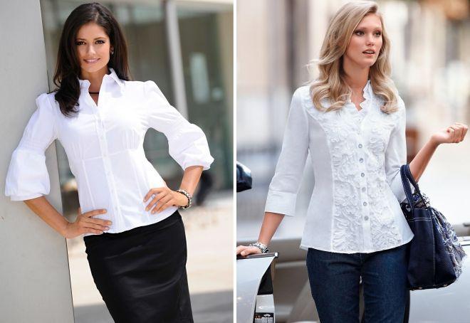 белые блузки с длинным рукавом
