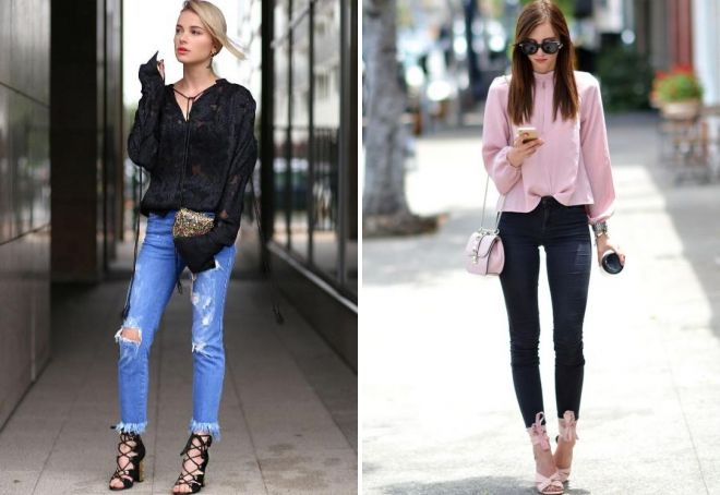 блузка с длинным рукавом с джинсами