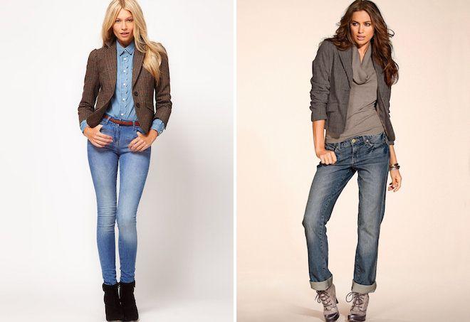 пиджак в клетку и джинсы