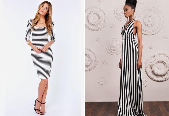 модное черно белое платье