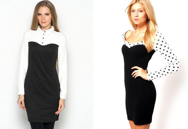 черное платье с белыми рукавами