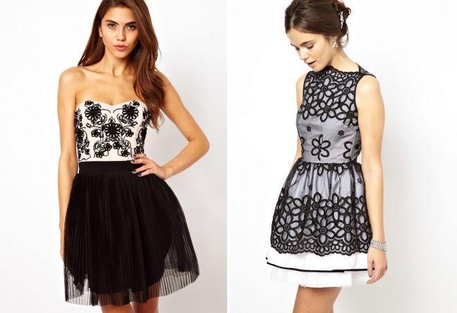 платье с черно белым рисунком