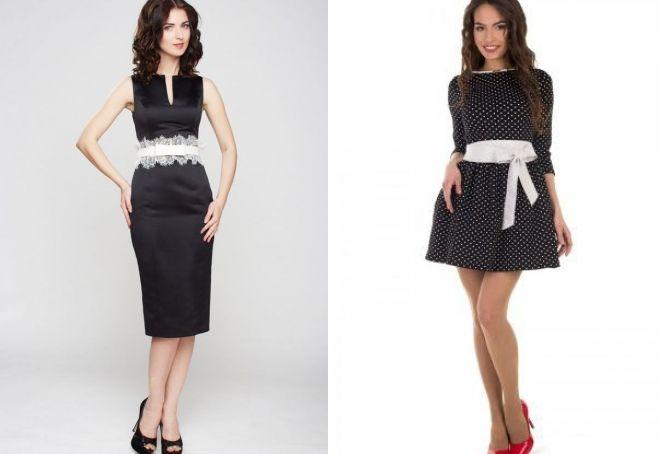 черное платье с белым поясом
