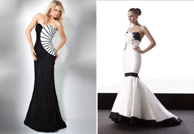 вечернее черно белое платье