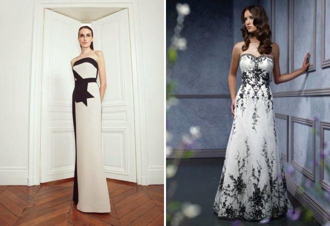 черно белое нарядное платье