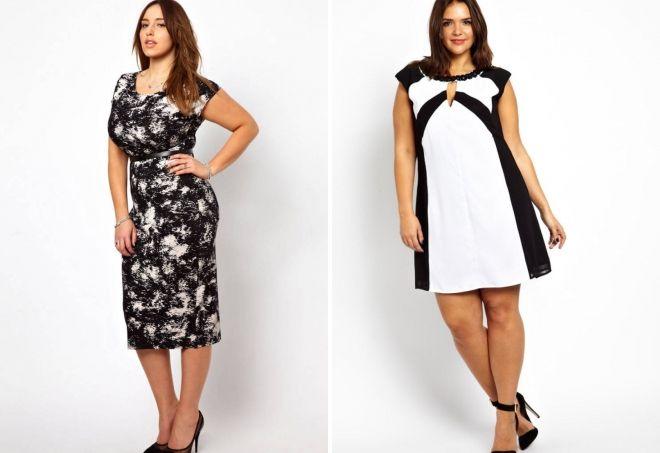 черно белые платья для полных