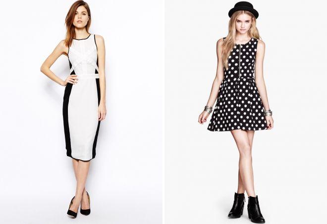 черное платье с белой отделкой