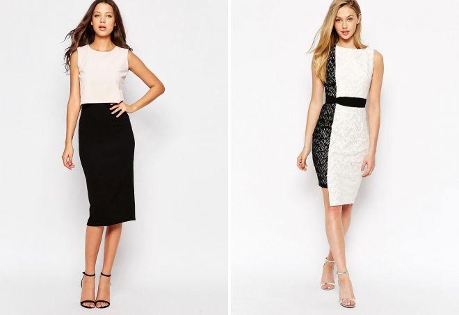 комбинированное черно белое платье