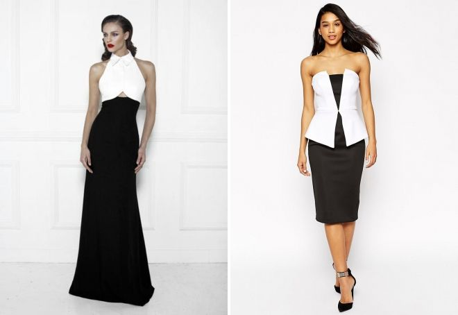 платье белый верх черный низ