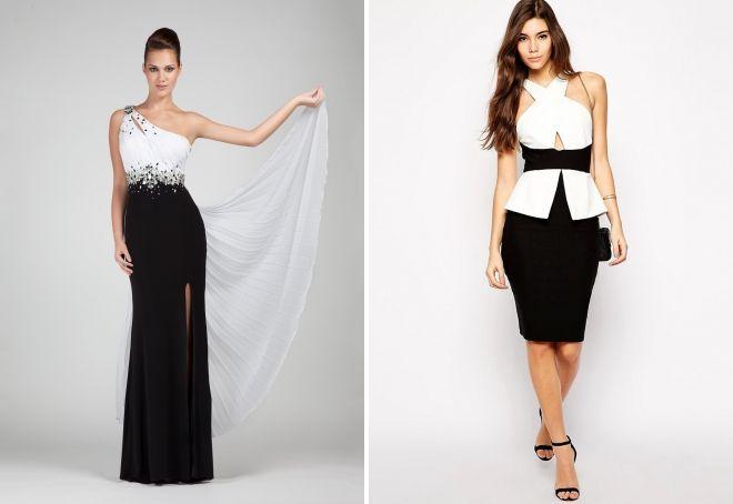 модели черно белых платьев