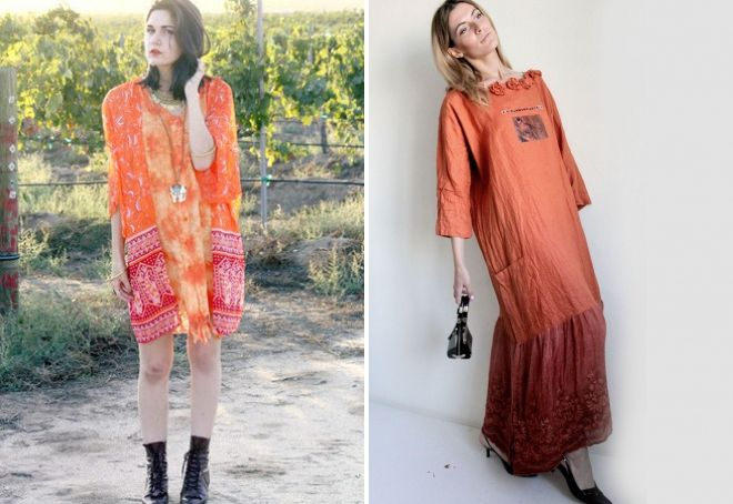 оранжевое платье бохо