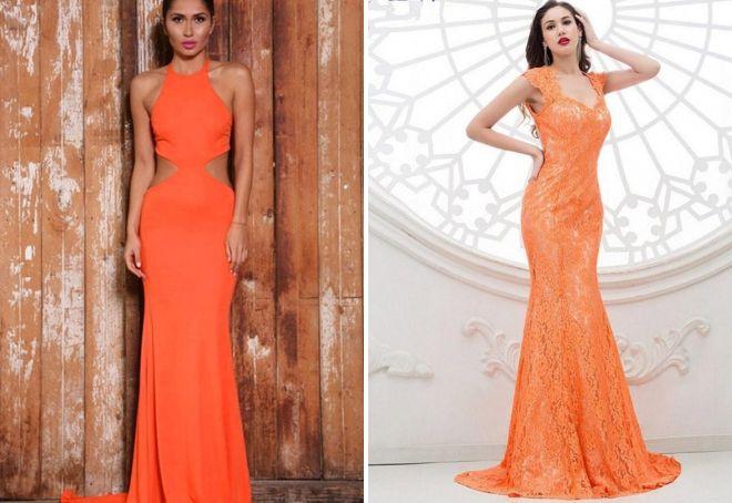 вечерние платья оранжевого цвета