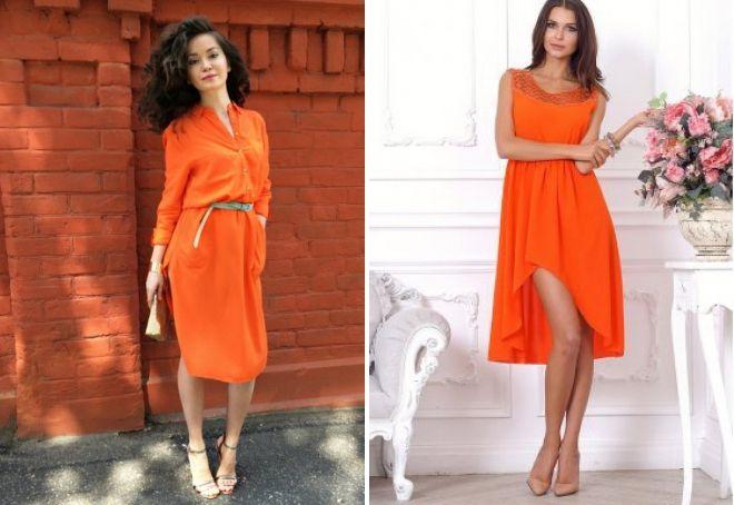 коктейльное платье в оранжевом цвете