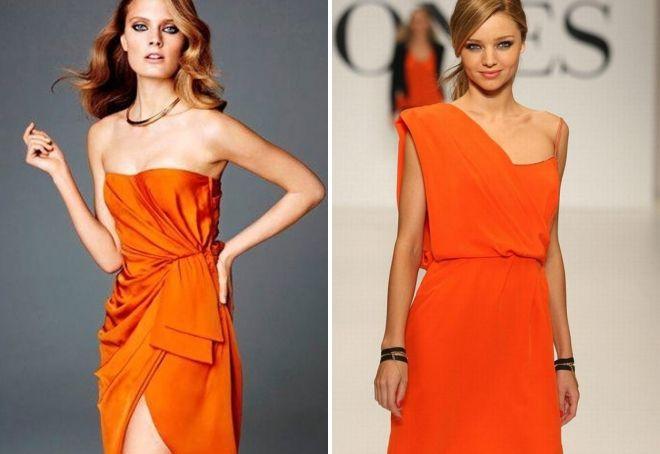 макияж под оранжевое платье