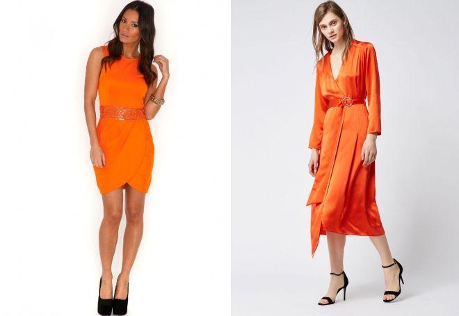 оранжевое платье с запахом
