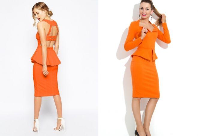 оранжевое платье с баской