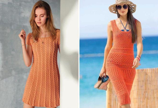 оранжевое вязаное платье