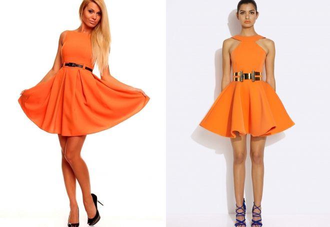 оранжевое пышное платье