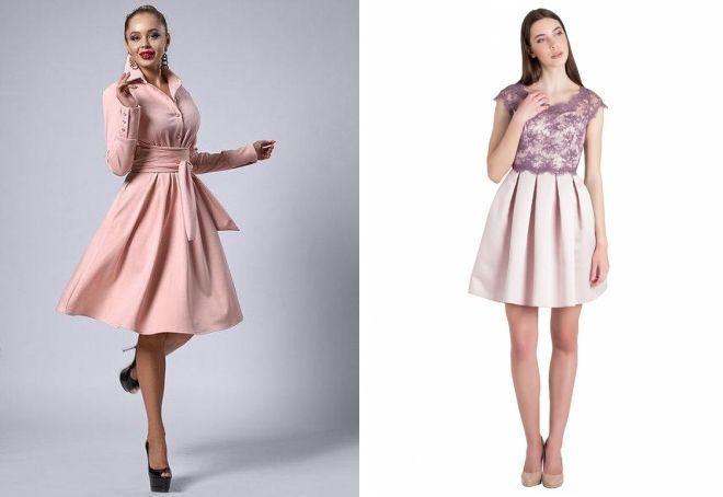 пудровое короткое платье