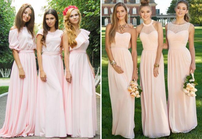 пудровые платья для подружек невесты