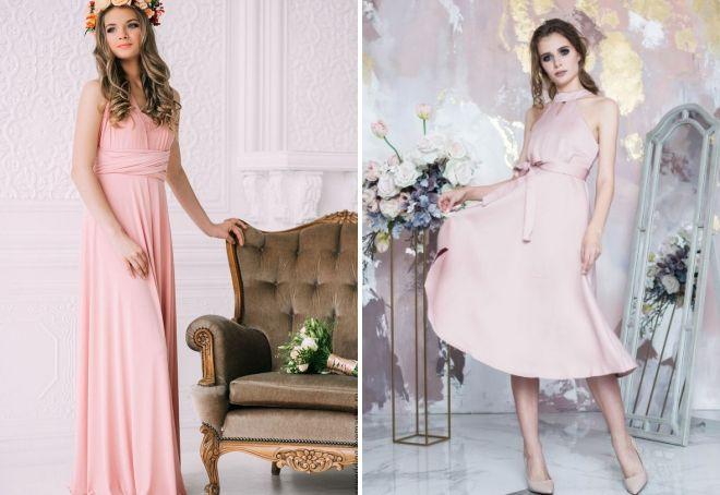 платье подружки невесты пудрового цвета