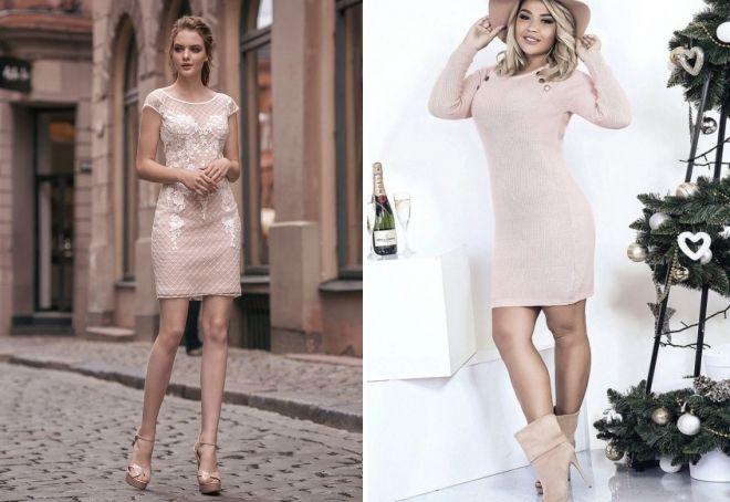 с чем носить пудровое платье