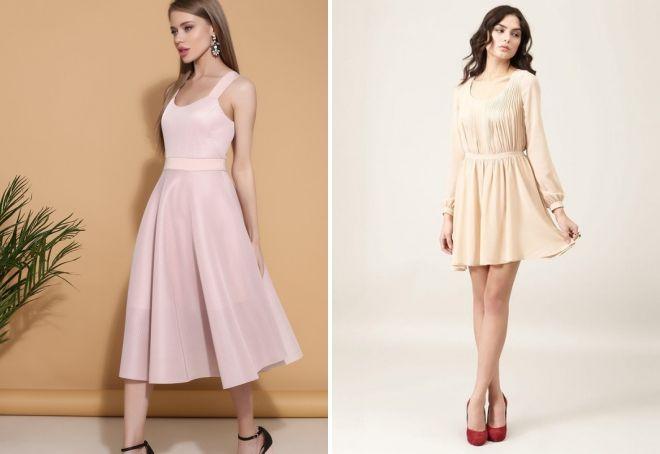 женские платья пудрового цвета