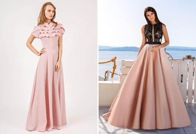 пудровое платье в пол