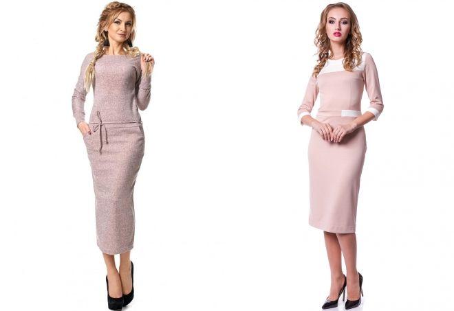 трикотажные платья пудрового цвета