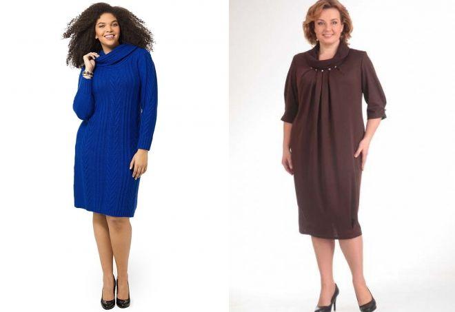 шерстяные платья для полных женщин