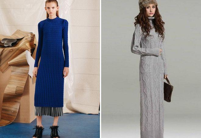 длинные шерстяные платья