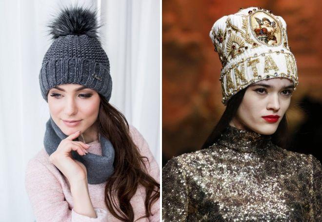 вязаные шапки 2019