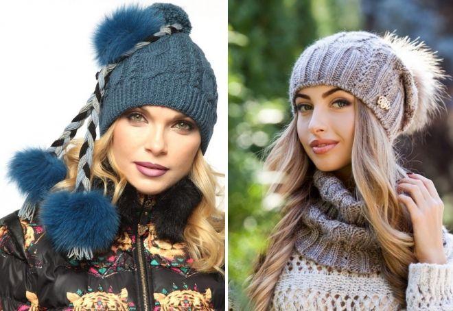 вязаные шапки с мехом 2019
