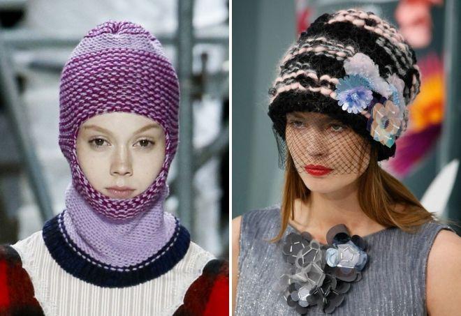 стильные вязаные шапки 2019