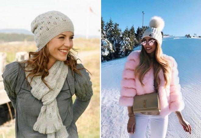 женские вязаные шапки зима 2019