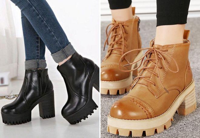 женские ботинки на толстой тракторной подошве