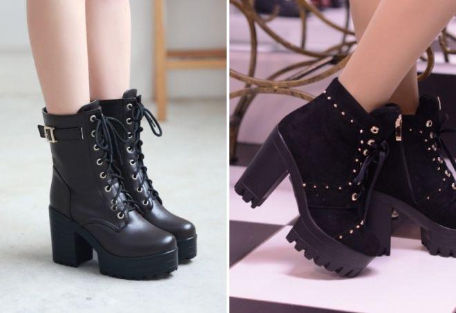 модные женские ботинки на толстой подошве