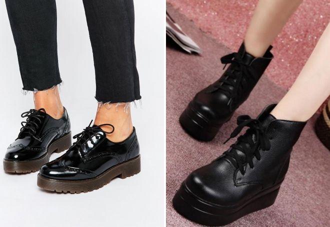 ботинки на толстой подошве со шнуровкой