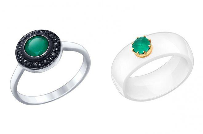 кольца с зеленым агатом