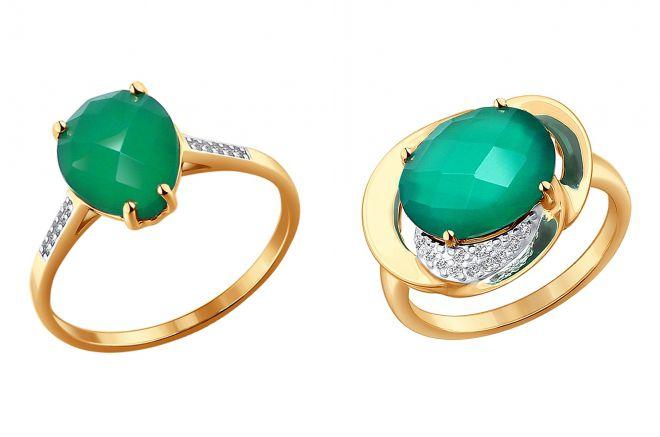 кольцо с зеленым агатом в золоте
