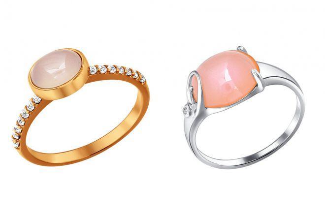 кольцо с розовым агатом